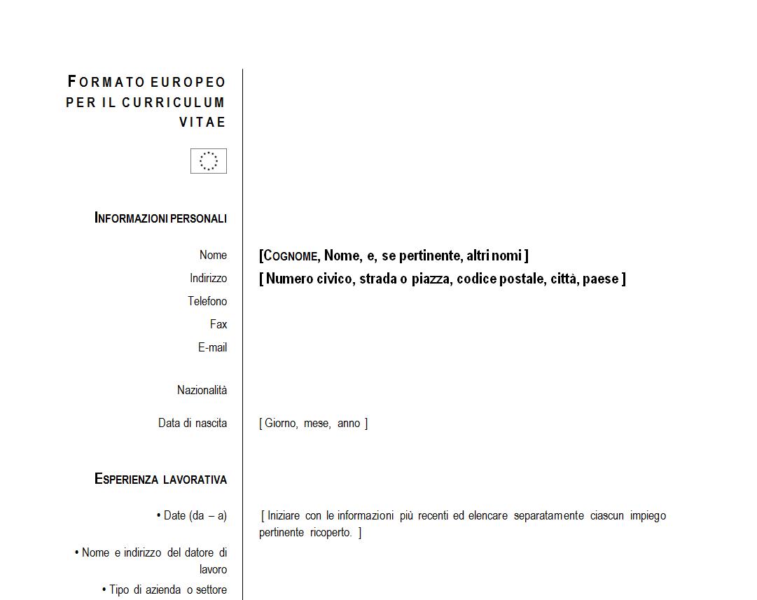 Modello Curriculum Vitae 2014 Da Scaricare Gratis Marketing Essay
