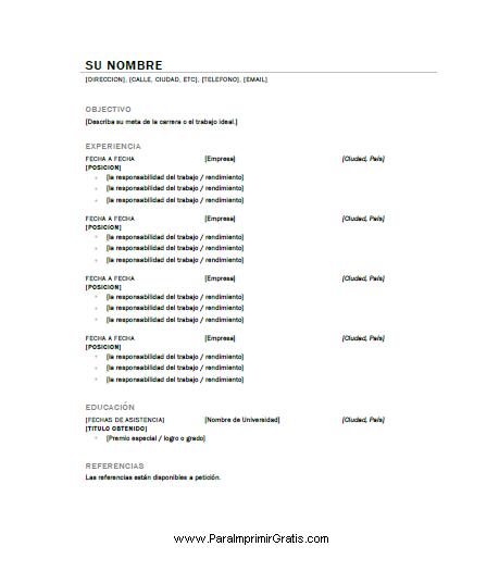 Modelo De Curriculum Sencillo Formato De Curriculum Vitae Para
